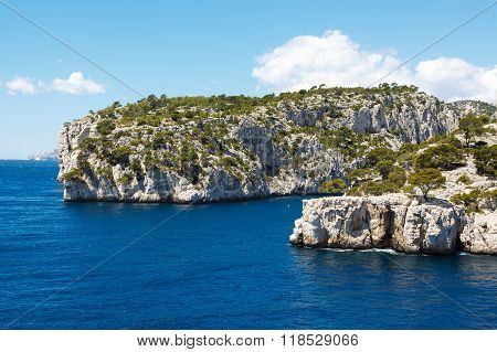 Landscape view on calanques of Port Pin in Cassis near Marseille Provence France.