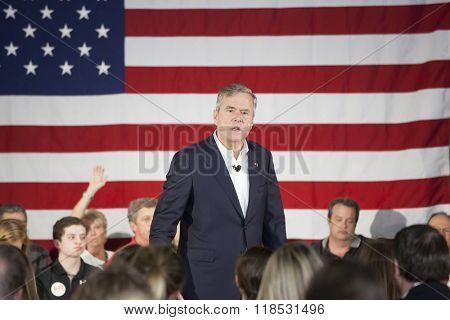 BEAUFORT, SOUTH CAROLINA-FEBRUARY 17, 2016: Presidential hopeful Jeb Bush speaks to a town hall meeting in Beaufort, South Carolina