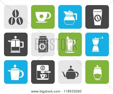 Flat coffee industry signs and icons