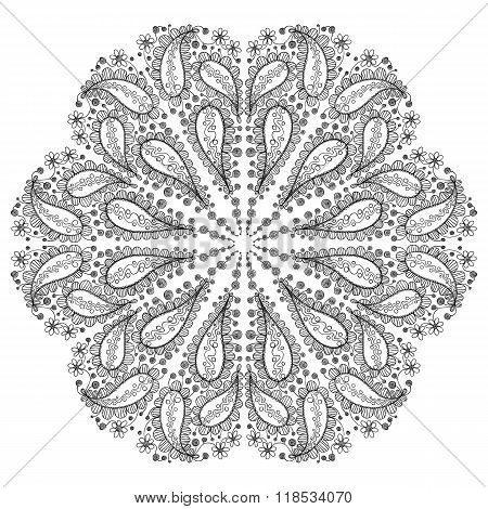 hand drawn round floral pattern with paisley motif