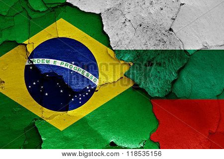 Flags Of Brazil And Bulgaria Painted On Cracked Wall