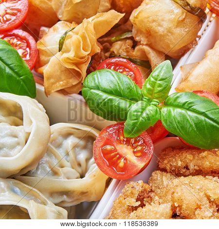 Asian Snacks In White Bowls