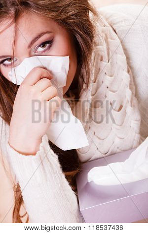 Sick Woman Girl With Fever Sneezing In Tissue