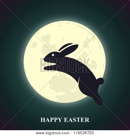 Vector Easter Greeting Card with Bunny Leaping over Glowing Moon at Night Sky