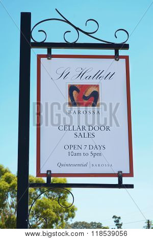 BAROSSA VALLEY AUSTRALIA - JANUARY 5 2016: St Hallett winery established 1944 in the Barossa Valley South Australia cellar door highway signage. poster