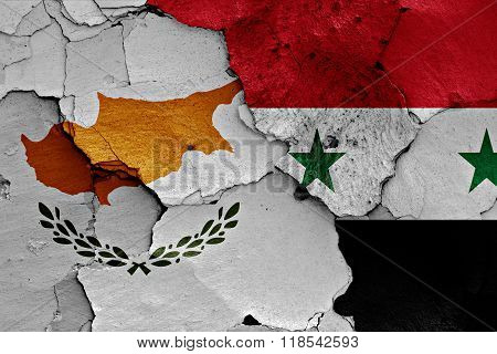 flags of Cyprus and Syria painted on cracked wall