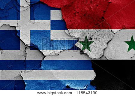 Flags Of Greece And Syria Painted On Cracked Wall
