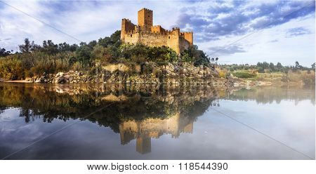Almourol castle - reflection of history. Portugal poster