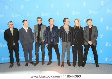 Colin Firth, Jude Law, Michael Grandage, Laura Linney, Guy Pearce attend the 'Genius' photo call during the 66th Berlinale Film Festival Berlin at Hyatt Hotel on February 16, 2016 in Berlin, Germany.
