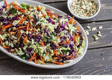 Fresh Cole Slaw With Pumpkin, Flax, Sesame Seeds And Pine Nuts - Delicious Healthy Vegetarian Food.