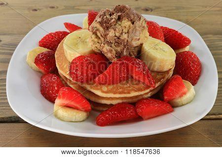 Pancakes Strawberries Banana Maple Syrup Ice Cream