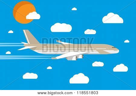 picture of a civilian plane with clouds and sun