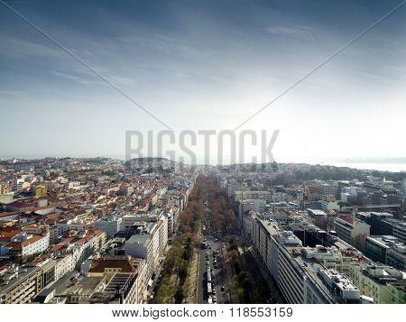 Edward vii Park and Lisbon Skyline, Portugal