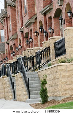 Row of upscale townhomes