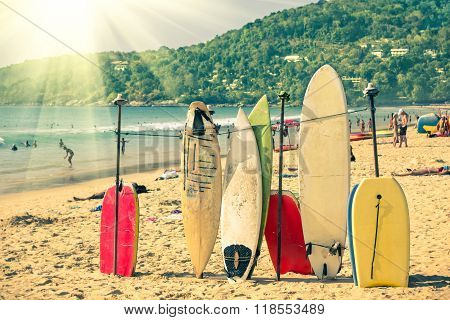 Multicolored Surfboards At  Kata Beach In Phuket Island - Surf Boards At Tropical Destinations