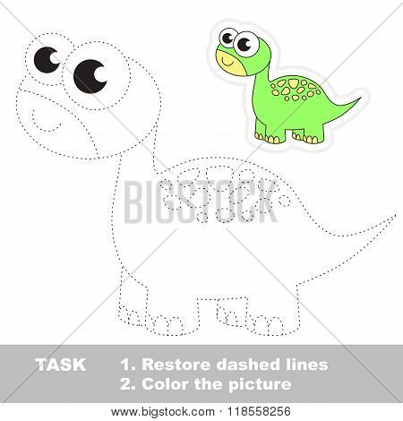 Brontosaurus to be traced. Vector trace game.
