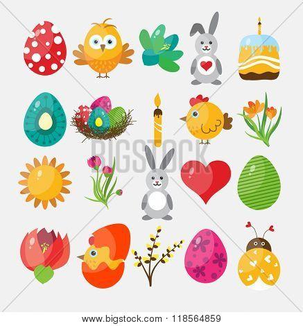 Set Easter flat icons for design, vector illustration