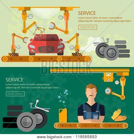 Assembling Cars Factory Car Repair Banners Conveyor Belt Operator Automate Process Vector