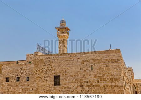 Panoramic view of the Solomon's temple remains and Al-Aqsa Mosque minaret in Jerusalem, is believed by Muslims to be the second mosque on earth after the Kaba. poster