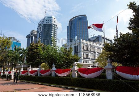 Building On Main Street In Central Jakarta