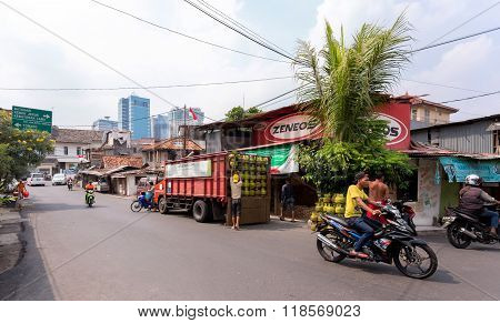 Traffic On Shantytown Street In Jakarta