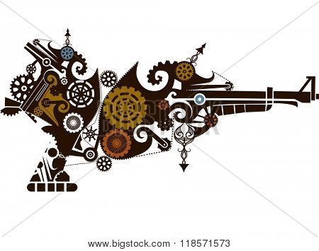 Steampunk Illustration of Guns Designed with Elaborate Gears