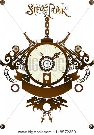 Steampunk Illustration of a Clock Designed with Elaborate Gears