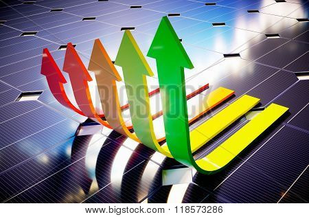 Solar panels with energy labels. 3D illustration.