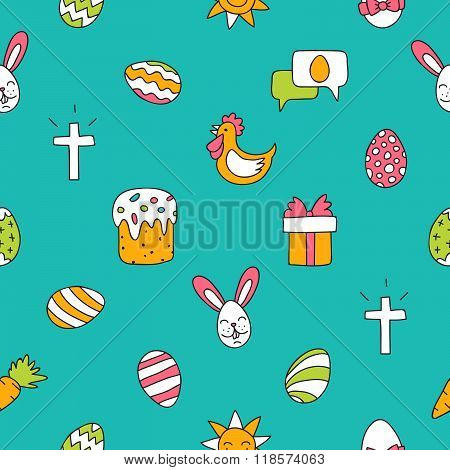 Seamless Vector Pattern Of Colored Easter Icons