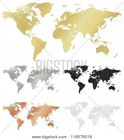 Vector Map Of The World Made Of Corrugated Metal Copper Gold Silver Black White