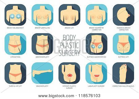 Body Plastic Surgery Icons. Flat Design. Vector