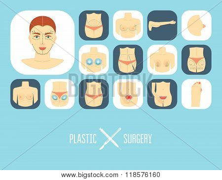 Plastic Surgery Icon Set. Plastic Surgery Banner, Background, Poster, Concept. Flat Design. Vector