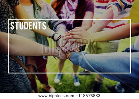 Students Education Learning Multiethnic Friends Concept