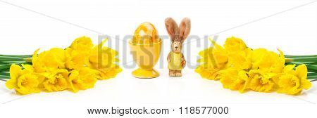 Daffodils, Easter Bunny, Easter Egg, Banner