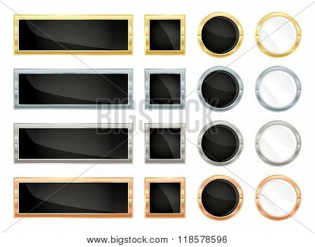 Simple Vector Banners Rectangular And Square And Round Labels Of Gold, Silver, Platinum, Bronze