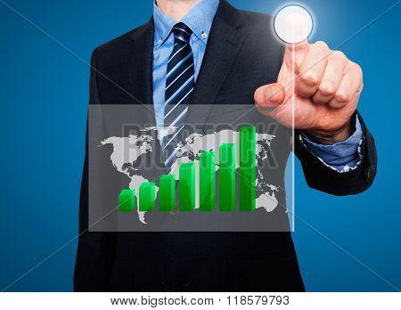 Businessman In Dark Suit Pushing Button Worldmap Global Growth