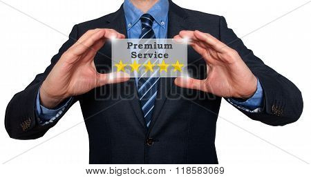 Businessman Holds Five Stars Premium Service