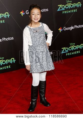 Aubrey Anderson-Emmons at the Los Angeles premiere of 'Zootopia' held at the El Capitan Theater in Hollywood, USA on Febraury 17, 2016.