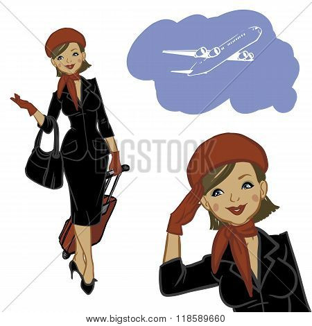 Beautiful  Air Hostess. Woman In Official Clothes