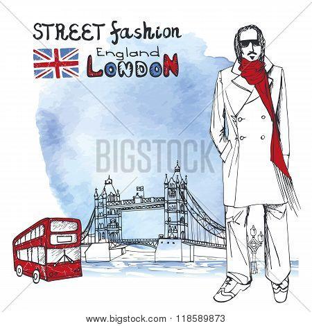London dude men.Watercolor background.Street fashion