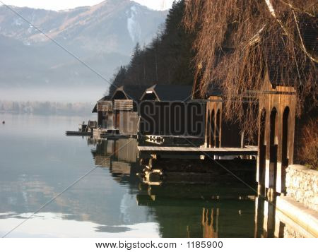 Traditional Water Huts In The Salzkammergut
