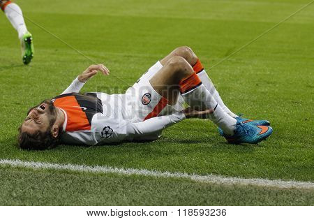 MUNICH, GERMANY - MARCH 11 2015: Shaktar's defender Darijo Srna is injured during the UEFA Champions League match between Bayern Munich and FC Shakhtar Donetsk.