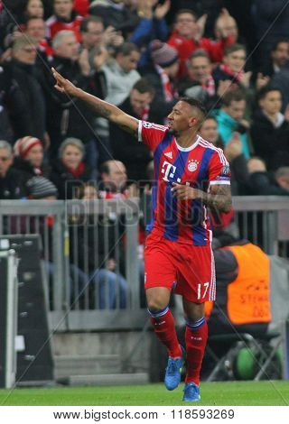 MUNICH, GERMANY - MARCH 11 2015: Bayern Munich's defender Jerome Boateng celebrates scoring a goal during the UEFA Champions League match between Bayern Munich and FC Shakhtar Donetsk.
