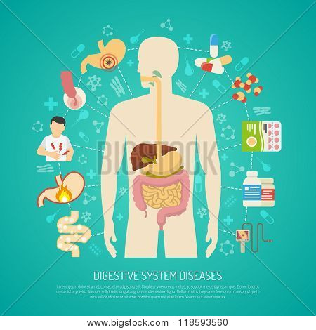 Digestive System Diseases Illustration