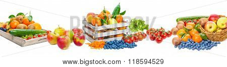 Fruit And Vegetables, Isolated As Banner