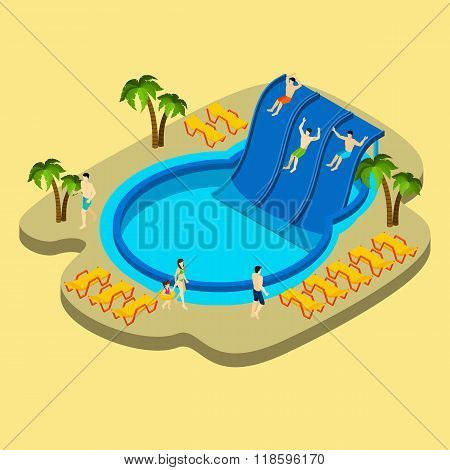 Water Park And Swimming Illustration