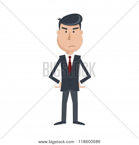 Angry Man In Suit And Tie With Arms Akimbo.