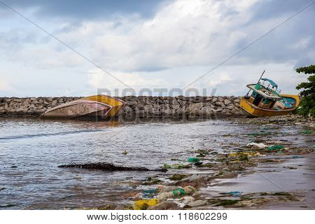 Pollution On The Beach Of Tropical Sea