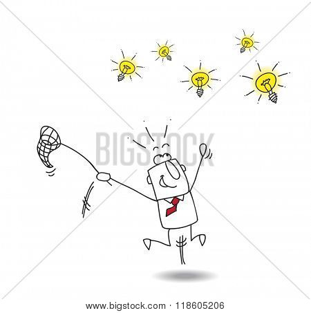 A businessman runs after light bulbs. It's a metaphor of somebody who want find brilliant ideas