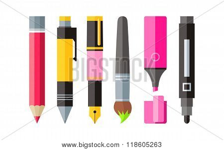 Painting Tools Pen Pencil and Marker Flat Design